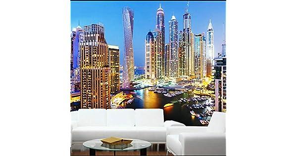 Wall Mural Photo Wallpaper Image EASY-INSTALL Fleece Dubai Skyscrapers at Night