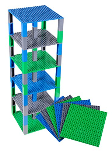 Classic Baseplates 6 x 6 Brik Tower by Strictly Briks | 100% Compatible with All Major Brands | Building Bricks for Towers, Shelves and More | 6 Baseplates & 50 Stackers in Blue Green & Gray