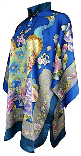 Amazing Grace Chinese Hand Painted Silk Mumu (Peacock Blue)