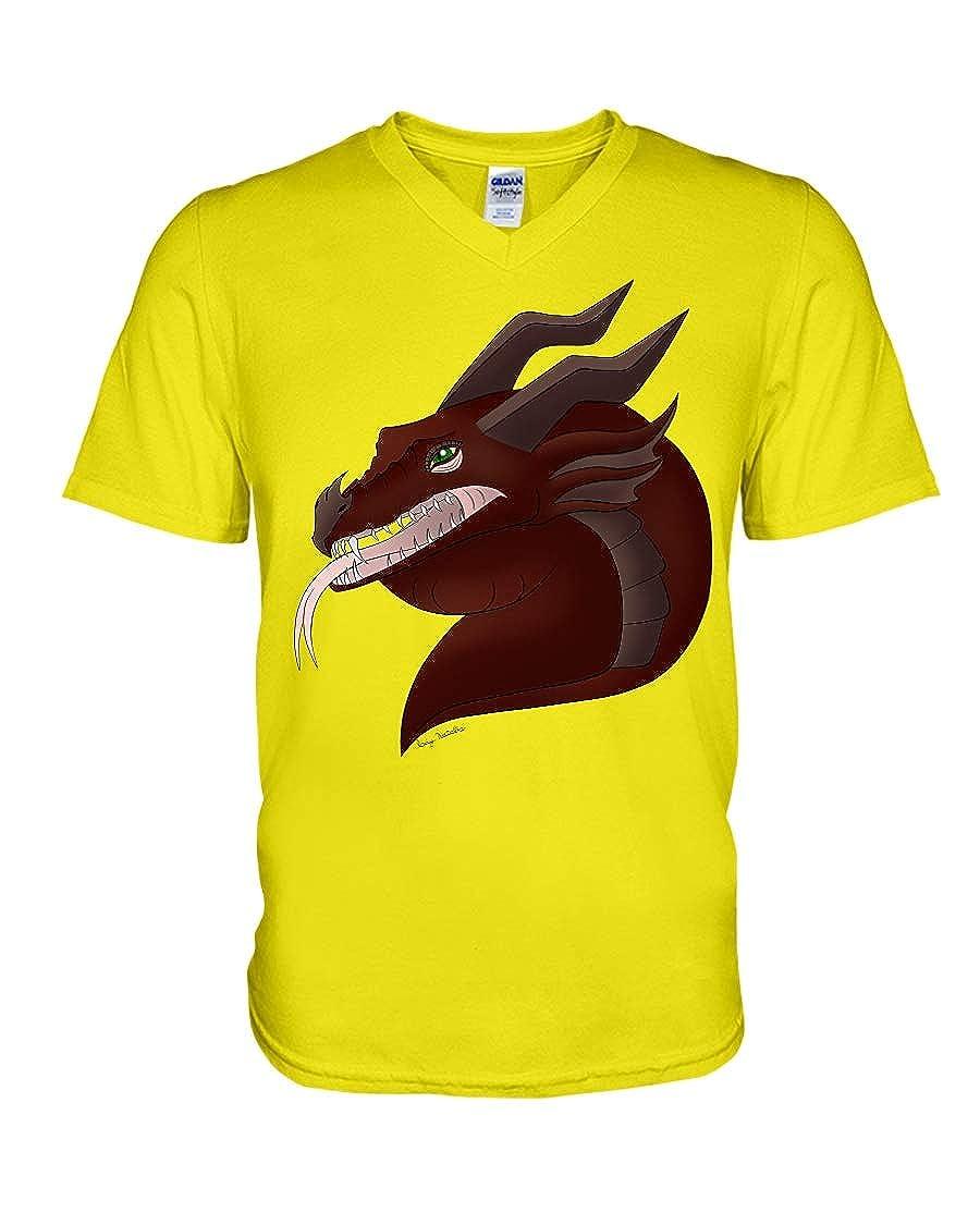 Hillary Chenss Medieval Dragon V-Neck T-Shirt Neon Yellow 2XL