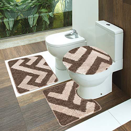 Tapete Polipropileno Van Gogh Texturas Jogo De 3 Peças Para Banheiro Jolitex Fendi/caqui