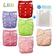 Baby Double Rows of Snaps 6pcs Pack Fitted Pocket Washable Adjustable Cloth Diape£¨Girl Color£6BM88