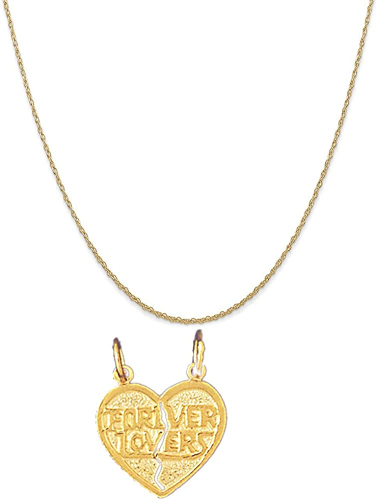 14k Yellow Gold Breakable Heart Forever Lovers Pendant on a 14K Yellow Gold Chain Necklace