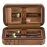 Genuine Leather 6 Cigar Travel Humidor - Ehonestbuy Spanish Cedar Wood Lined Ciger Box for Husband, Groomsmen Wedding Gift (Brown - Crocodile grain)
