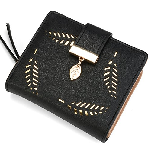 Women's Short Leather Wallet Leaf Bifold Card Coin Holder Small Purses Buckle Zipper Clutch,Black-by Vodiu by vodiu