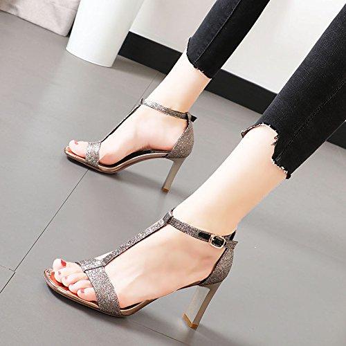 KPHY-Zapatos de mujerSandalias mujerSandalias mujerSandalias De Verano Rough Lentejuelas T-Buttons 8Cm Tacones Altos Salvaje Moda Banquete Hollow Damas Zapatos.Treinta Y Cinco Oro c13270