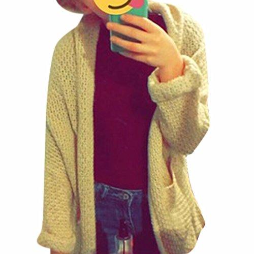 QIYUN.ZManga De Las Muchachas De Las Mujeres Ala De Murciélago Sólido Chaqueta De Punto Abierto Capa Suéter Cream-Colored