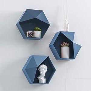 Hexagon Shelves for Wall – Set of 3 Geometric Wall Racks Honeycomb Wall Shelves Floating Hexagonal Shelves Storage for Bedroom Kitchen Living Room Office ( Blue )