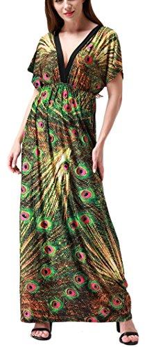 Wantdo Women's Boho Bohemian V Neck Beach Maxi Dress Plus Size – Medium, 915Green