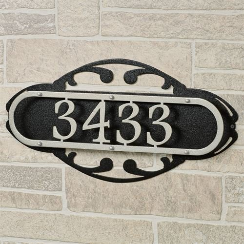 Touch Of Class Metal Paris House Number Address Wall Sign Silver/Black Wall (Paris House Numbers)