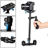 YELANGU S60T Carbon Fiber 24/60cm Handheld Stabilizer with Quick Release Plate 1/4 and 3/8 Screw for DSLR and Video Cameras up to 6.6lbs/3kg