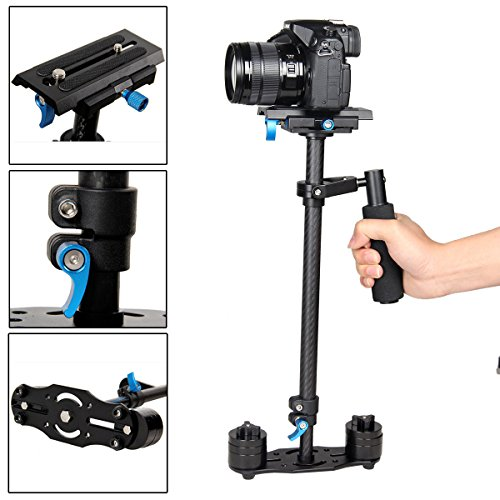 "YaeCCC YELANGU S60T Carbon Fiber 24""/60cm Handheld Stabilizer with Quick Release Plate 1/4"" and 3/8"" Screw for DSLR and Video Cameras up to 0.5-3kg"