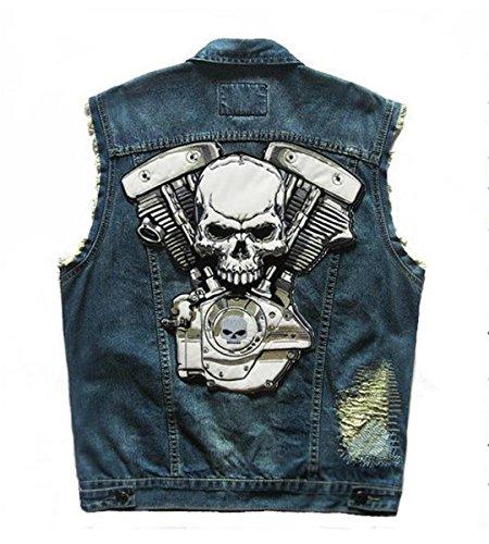 Denim Reaper Grim Vest Uomo Punk Blue Patch Riflettente Knight Skull Moto Ricamato Difficoltà Rivet In Skeleton Da qgSRwPI