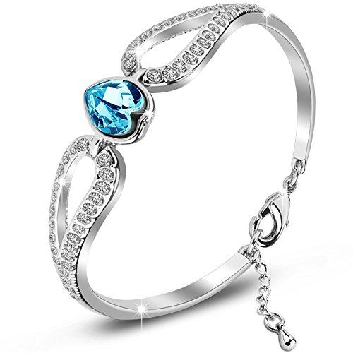 SILYHEART Love Heart Bangle Bracelet Made with Swarovski Element Crystal, Bracelet Gift for Women Teen Girls