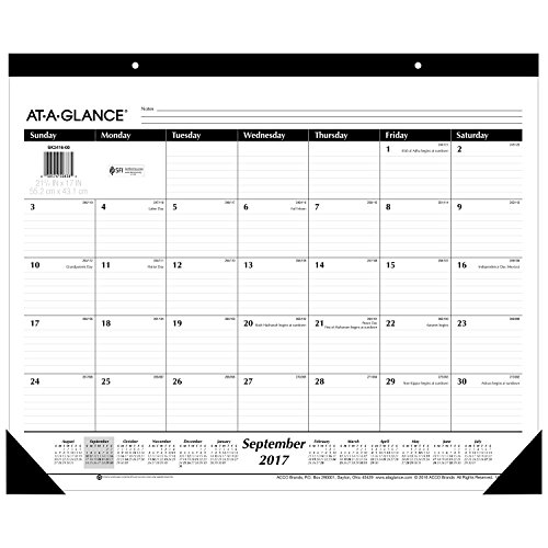 "AT-A-GLANCE Academic Desk Pad Calendar, September 2017 - December 2018, 22"" x 17"" (SK241600)"
