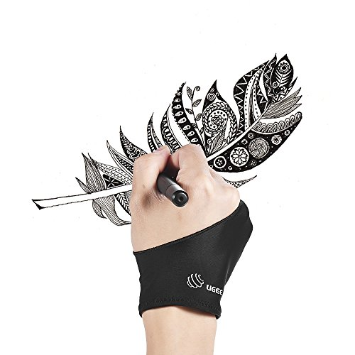 UGEE Free Size Two-Finger Drawing Glove Anti-fouling Black S