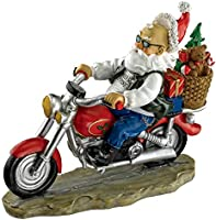 Garden Gnome Statue - Old School Father Christmas Biker Gnome - Santa Gnome - Wild Gnome Statues - Gnome on Motorcycle...