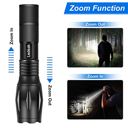 Lampe Torche LED Ultra Puissante, Ledeak Cree XM-T6 1000 Lumens Lampe de poche Militaire Tactique, Zoomable Etanche 5… 4