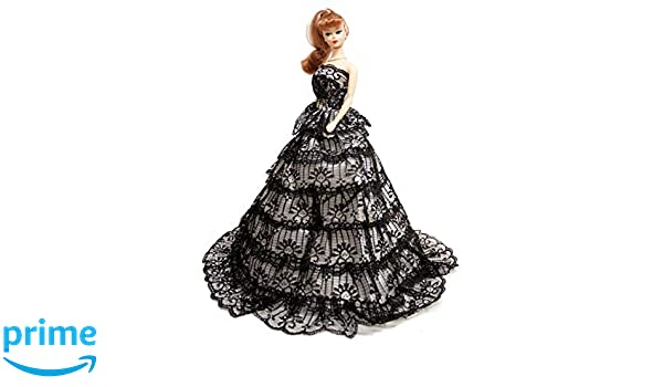 Black Romantic Gown Strapless Layered Ruffle Black Prom Dress for 11.5-inch Doll
