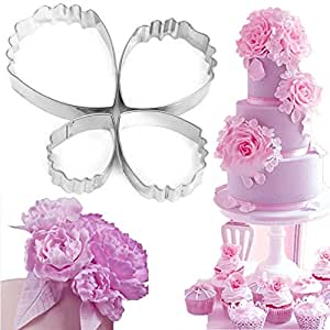 Bihood Fondant Molds Heart Peony Biscuit Cake Cookie Cutters Cake Cookie Cupcake Maker for Kids Cutter Babycakes Cupcake Maker for Girls Cupcakes Maker Girl Baking Mould Biscuit Cutter Set 4 PCS