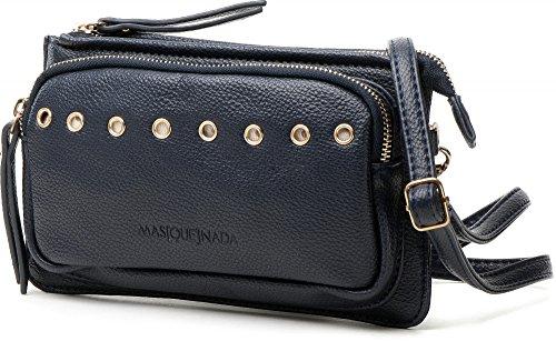 MASQUENADA, Bolsos de señora, Embragues, Bolsas axilas, Bolsos de hombro, 22x13x3,5 cm (AN x AL x pr), Color: Azul marino
