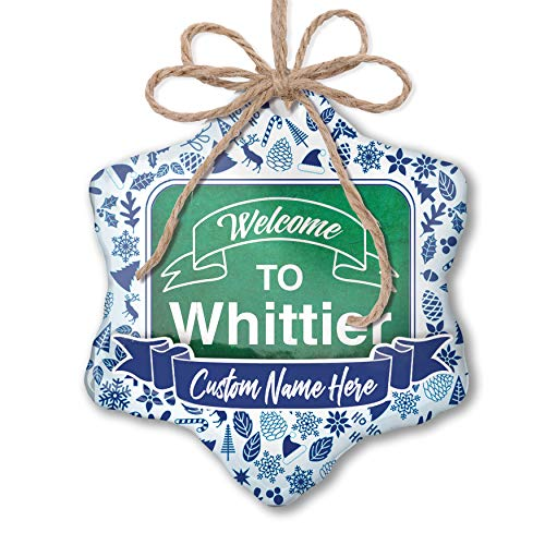 Whittier Hanging - NEONBLOND Custom Tree Ornament Green Sign Welcome to Whittier with Your Name