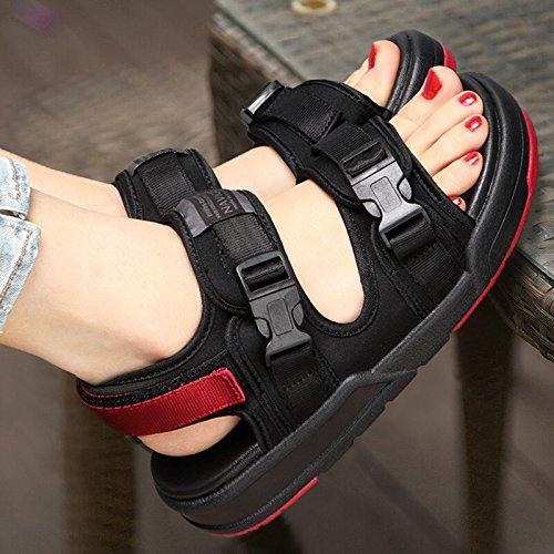 Xing Lin Sandalias De Mujer Sandalias Zapatos Estudiante Dama Amantes Casuales De Verano Zapatos Sneakers Exterior Black and red