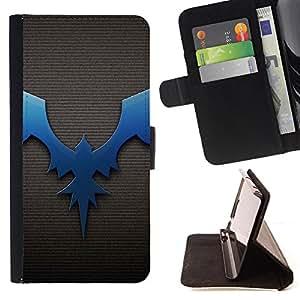 - Bat Dragon Dark Blue Brushed - Estilo PU billetera de cuero del soporte del tir???¡¯???3n [solapa de cierre] Cubierta- For HTC One M9 ( Devil Case )