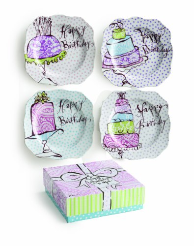 Rosanna Happy Birthday Dessert Plates, Set of (Halloween Topsy Turvy Cake)