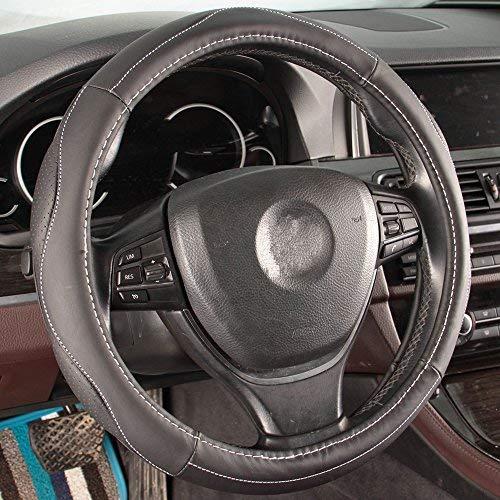 16sixteen the best amazon price in savemoney es16sixteen car steering wheel cover sport design black soft full genuine grain leather universal fit 15