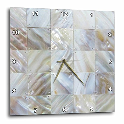 3dRose dpp_50911_3 Picturing Mother of Pearl Wall Clock, 15 by 15-Inch (Mother Of Pearl Plate)