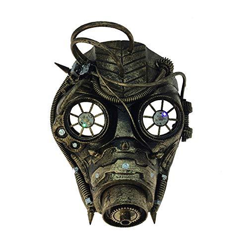 Attitude Studio Steampunk Robot Pirate Full Face Goggle Costume Mask - Gold -