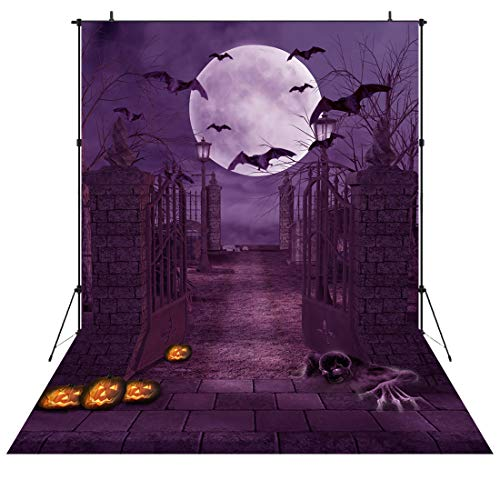 (5x7ft Horror Theme Backdrops Halloween Jack Pumpkin Party Backdrop Bat Moon Purple Terror Background Photo Studio Booth Photographer Props Vinyl)