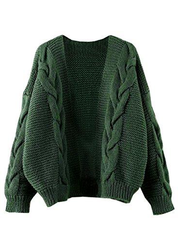 Futurino Women's Twist Cable Knit Open Front Drop Long Sleeve Cardigan Sweaters