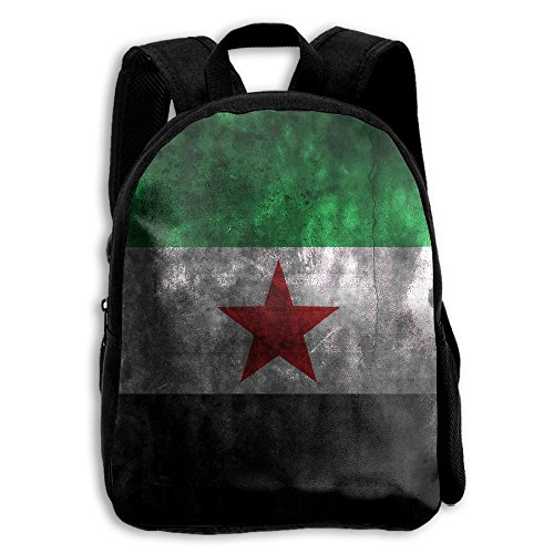 3D Syria Flag Printed Oxford School Bag Toddler Double Zippe