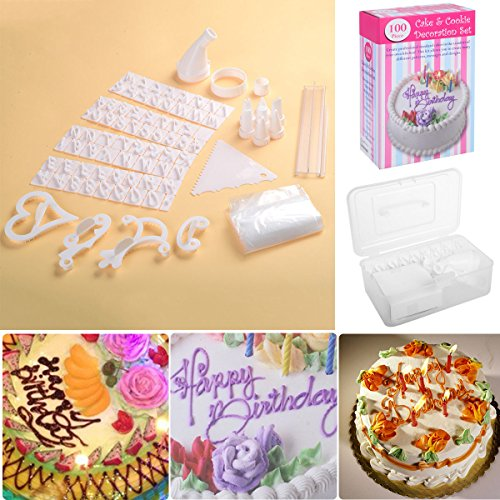 Safstar 100pcs Birthday Wedding Cake Decorating Supplies Cupcake Cookie Craft Design Kit for Kids or (Cake Stencil Set)