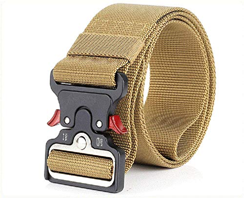 Mens Tactical Belt, W/1.5-2 Military Nylon Waist Belt with Metal Buckle Adjustable Combat Equipment Belt Heavy Duty Army Training Carry Waist Belt (Brown W/2 inches)