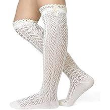 Cozy Design Women's Chevron Pattern Knee High Lace Trim Boot Socks