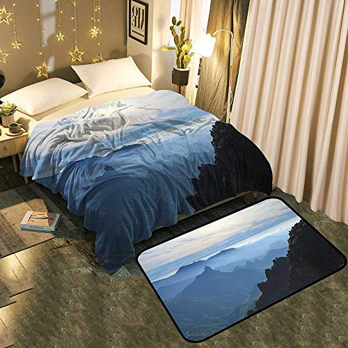 - UNOSEKS-Home Two-Piece Blanket Floor mat Gran Canaria,Caldera de Tejeda,Mist is Settling Over Caldera Add Fashion to Room's Decor Blanket 60