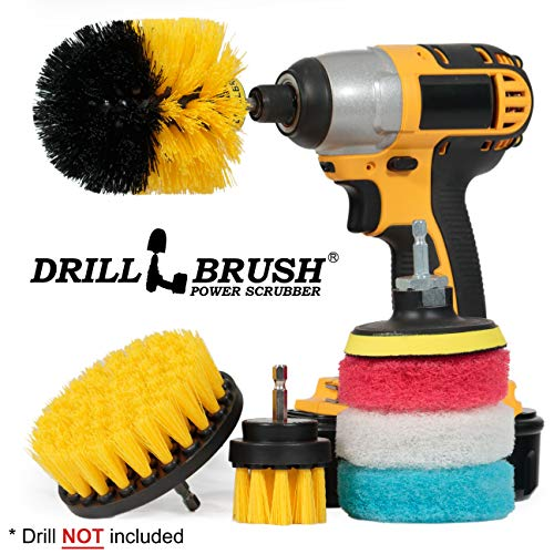 Bathroom Accessories - Drill Brush - Bathroom Set - Scrub Brush and Pad Kit - Cleaning Supplies - Grout Brush, Shower Cleaner, Tub, Sinks, Carpet, Glass Shower Doors - Calcium, Minerals, Hard Water