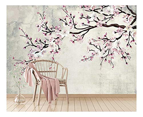 wall26 - Large Wall Mural - Watercolor Style Ink Painting Pink Cherry Blossom on Vintage Wall Background | Self-Adhesive Vinyl Wallpaper/Removable Modern Wall Decor - 100x144 inches by wall26 (Image #5)