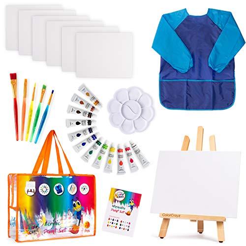 Kids Art Set | 27-Piece Acrylic Paint Set with 5 Paint Brushes 8×10 Painting Canvas Tabletop Easel & Bonus Art Smock…