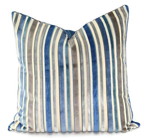 CELYCASY Blue Turquoise Gray Taupe Beige Stripe Cut Velvet Toss Pillow Cover 18x18 Manuel Canovas Hema Mer Velvet Throw Pillow Cover (Velvet Cut Stripe)
