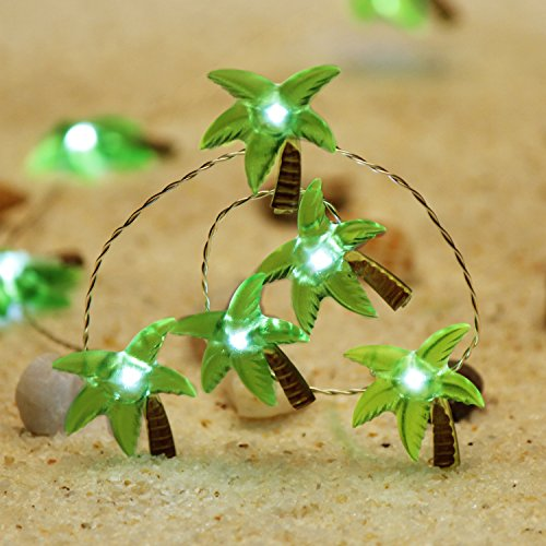 Impress Life Christmas Beach Themed String Lights, Tropical Coconut Palm Tree Lighting Silver Wire 10ft 40 LED with Remote for Bedroom, Porch, Wreathe, Garden, Wedding Party House DIY Decorations ()