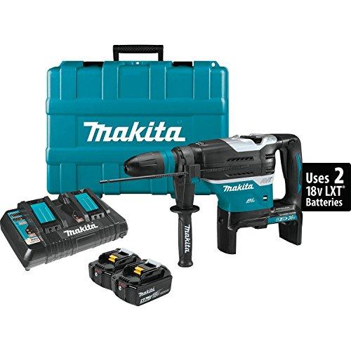 "Makita XRH07PTU 18V x2 LXT Lithium-Ion (36V) Brushless Cordless 1-9/16"" Advanced AVT Rotary Hammer Kit, Accepts Sds-Max Bits, Aws (5.0Ah)"