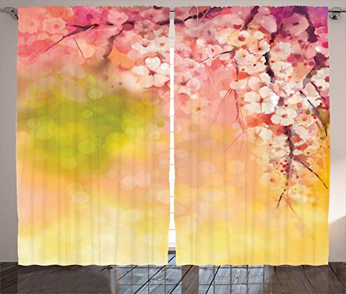 "Ambesonne Nature Curtains, Japanese Cherry Sakura Floral Artwork in Soft Color Over Blurred Background, Living Room Bedroom Window Drapes 2 Panel Set, 108"" X 84"", Yellow Green"
