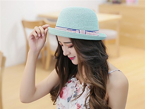 Generic The new School of wind straw hat cap women girls lady summer sun Beautiful small fresh short-brimmed sun hat cap shading beach hat cap curling