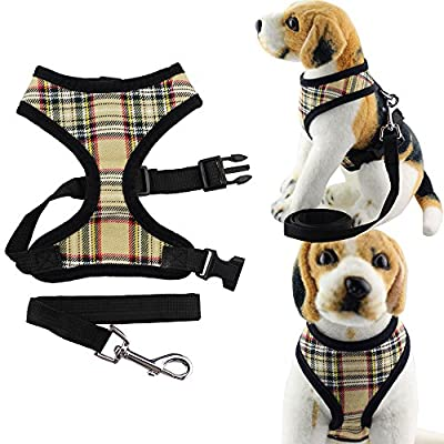 Bolbove Pet Adjustable Classic Plaid Mesh Harness and Leash Set for Cats & Dogs