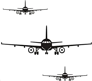 CUNYA 3Pcs Airplane Wall Decor Stickers, DIY Removable Aircraft Wall Art Decal Home Decoration for Living Room, Bedroom, Gift Wallpaper Mural for Boys, Kids