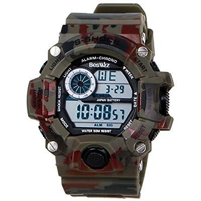 Beswlz Multi Function Military S-shock Sports Watch LED Analog Digital Waterproof Alarm Green